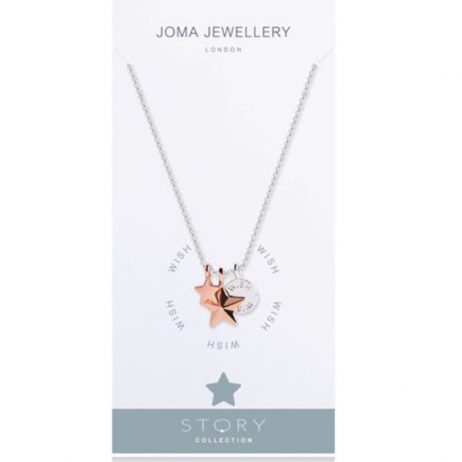 Joma Jewellery Story Wish Silver And Rose Gold Charms Necklace 2126