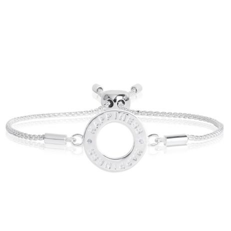 Joma Jewellery Message Bracelet Happiness Silver Crystal Circle 2195
