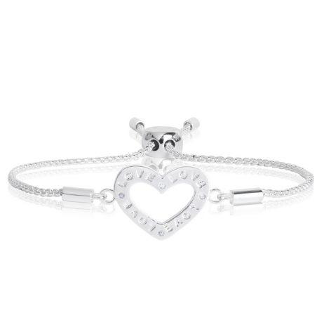 Joma Jewellery Message Bracelet Love Silver Crystal Heart 2196