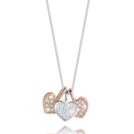 Joma Jewellery Florence Pave Hearts Trio Necklace 2206 EOL