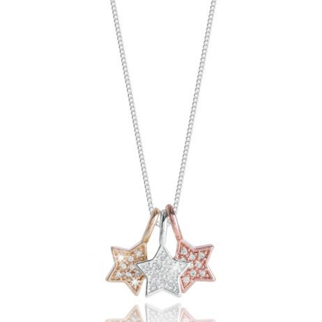 Joma Jewellery Florence Pave Star Trio Necklace 2208 EOL