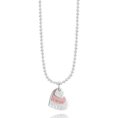 Joma Jewellery Klio Coin Live Laugh Love Necklace Rose Gold and Silver 2328