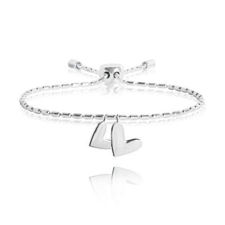 Joma Jewellery Dash Lariat Heart Silver Bracelet 2336