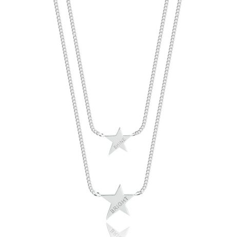 Joma Jewellery Coralie Double Shine Bright Silver Stars Necklace 2337