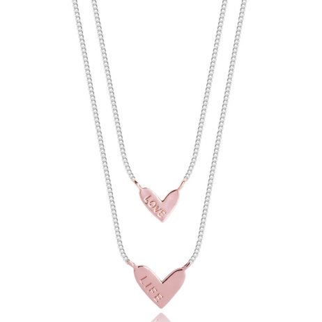 Joma Jewellery Coralie Double Love Life Rose Gold Heart Silver Necklace 2338