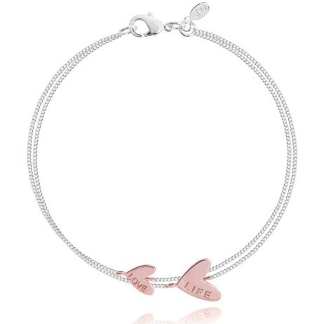 Joma Jewellery Coralie Double Love Life Rose Gold Heart Silver Bracelet 2340