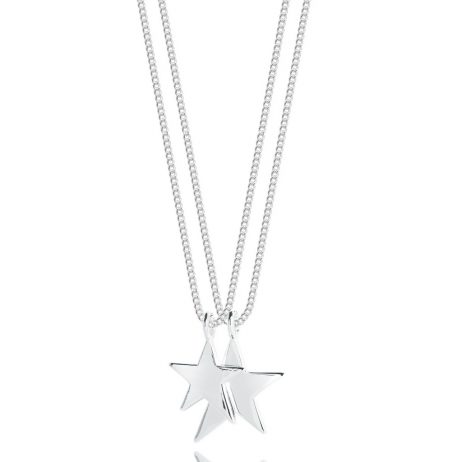 Joma Jewellery Karli Double Chain Silver Stars Necklace 2346
