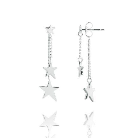 Joma Jewellery Double Star Silver Drop Earrings 2347