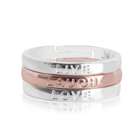 Joma Jewellery Live Laugh Love Stacking Rings 2352