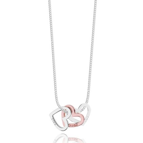 Joma Jewellery Adrianna Live Laugh Love Rose Gold and Silver Heart Necklace 2354