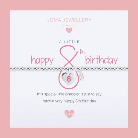 Joma Jewellery Girls A Little Happy 8th Birthday Silver Bracelet C399