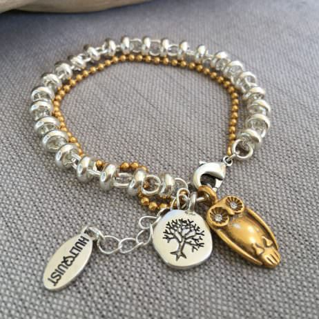 Hultquist Jewellery Silver and Gold Bracelet with Gold Owl and Silver Coin