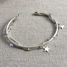Hultquist Jewellery Silver Bangle Bracelet with Chain and Stars