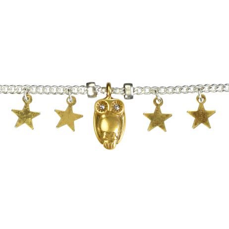 Hultquist Jewellery Silver Bracelet with Gold Owl and Stars