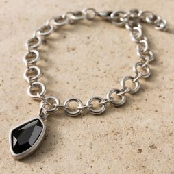 Danon Jewellery Grey Crystal Silver Link Bracelet