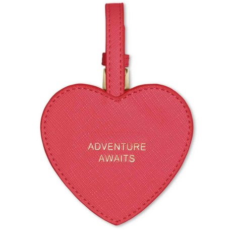 Katie Loxton Luggage Adventure Awaits Heart Luggage Tag Fuchsia Pink *
