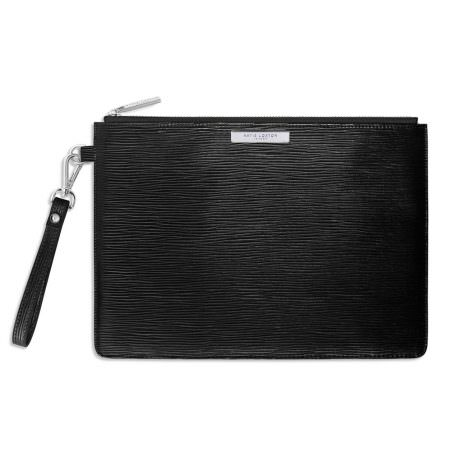 Katie Loxton Zara Large Clutch Bag Metallic Black