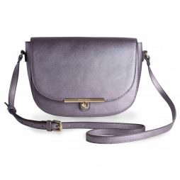 Katie Loxton Cece Saddle Shoulder Bag Metallic Charcoal