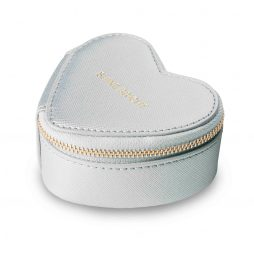 Katie Loxton Small Heart Travel Jewellery Case Shine Bright Metallic Silver