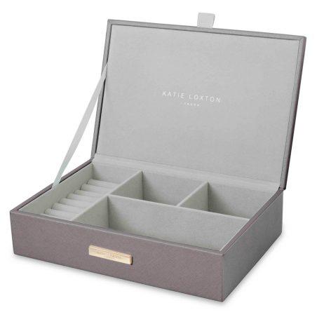 Katie Loxton Sparkle Everyday Jewellery Box Metallic Charcoal