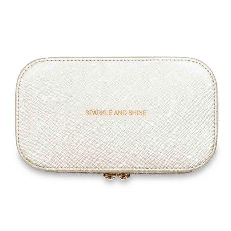 Katie Loxton Travel Jewellery Box Sparkle and Shine Metallic White