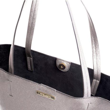 Katie Loxton Shine Bright Parker Shopper Bag Metallic Charcoal EOL