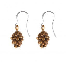 Hultquist Jewellery Gold and Silver Fir Cone Earrings