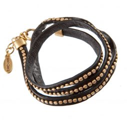 Hultquist Classic Triple Wrap Gold on Black Calf Leather Bracelet