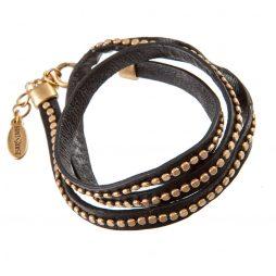 Hultquist Classic Triple Wrap Gold on Black Calf Leather Bracelet
