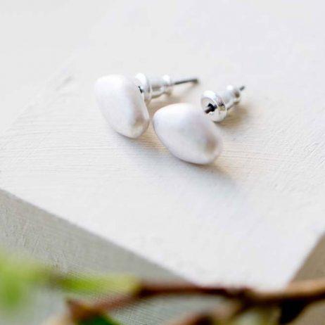 Tutti and Co Jewellery Lottie Simple Silver Pebble Stud Earrings