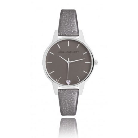 Joma Jewellery Ava Metallic Charcoal Leather Silver Watch JJW005 EOL