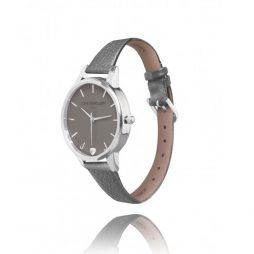 Joma Jewellery Ava Metallic Charcoal Leather Silver Watch JJW005