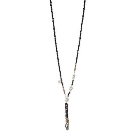 Sence Copenhagen Black Agate with Matt Silver Long Necklace