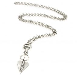 Danon Jewellery Signature Heart Crystal Long Silver Necklace
