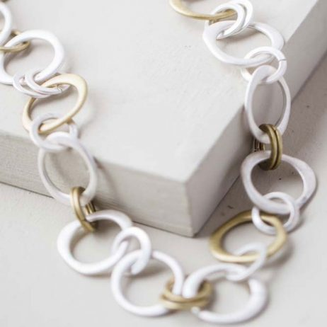 Tutti and Co Jewellery Molly Uneven Silver and Gold Ring Necklace