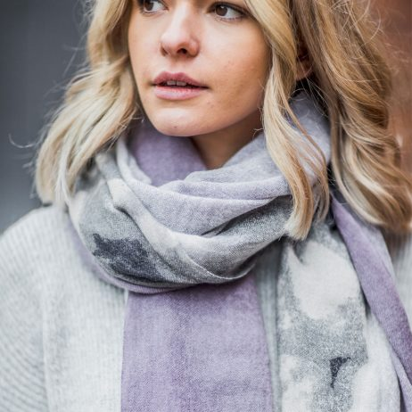 Tutti and Co Plum and Grey Faded Edge Scarf