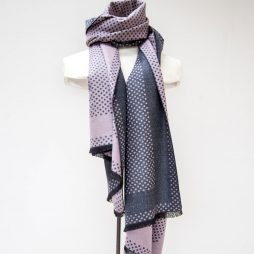Tutti and Co Plum Spot Selvedge Scarf S164