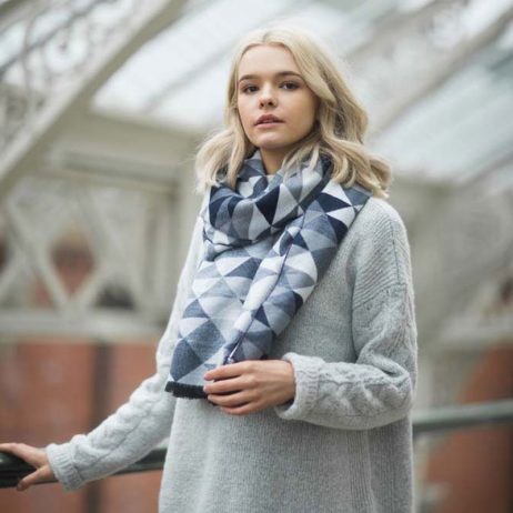 Tutti and Co Navy Geometric Scarf