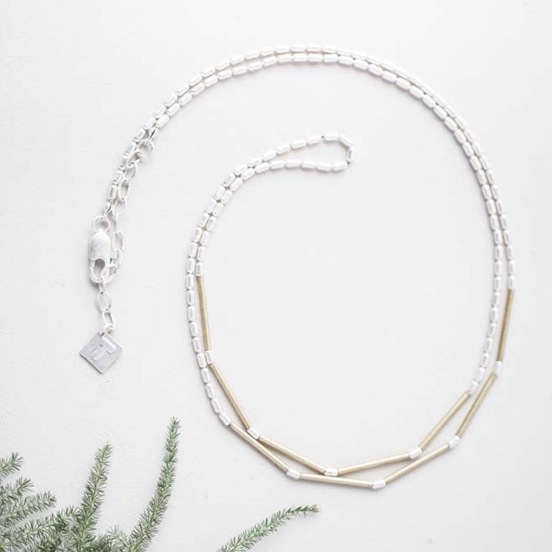 Tutti and Co Jewellery Christie Long Simple Silver Bar Chain ...