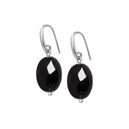 Sence Copenhagen Black Agate Matt Silver Earrings