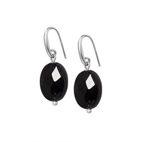 Sence Copenhagen Black Agate Matt Silver Earrings