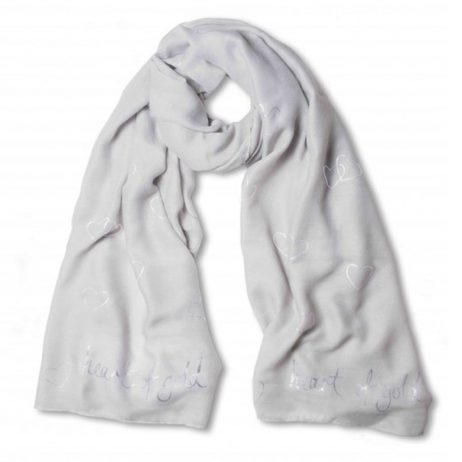 Katie Loxton Heart of Gold Scarf Scarf Pale Grey