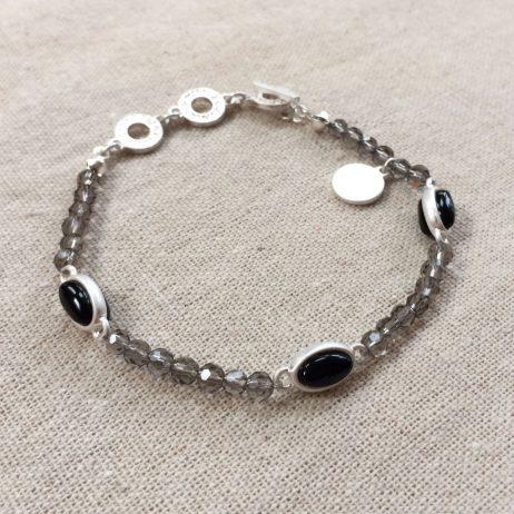 Sence Copenhagen Be Chic Bracelet Black Agate Worn Silver