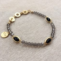 Sence Copenhagen Be Chic Bracelet Black Agate Worn Gold