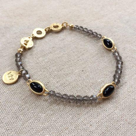 Sence Copenhagen Be Chic Bracelet Black Agate Worn Gold