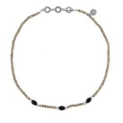 Sence Copenhagen Be Happy Necklace Black Agate Worn Silver
