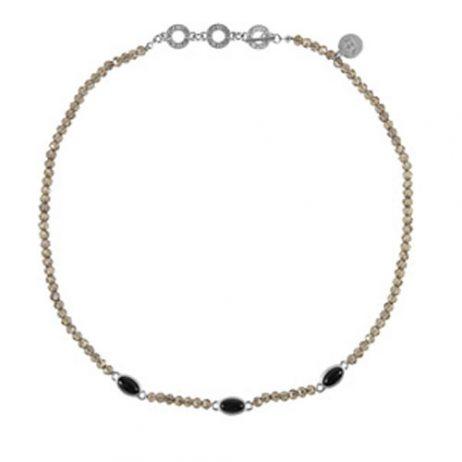 Sence Copenhagen Be Happy Necklace Black Agate Worn Silver
