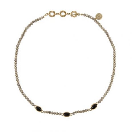 Sence Copenhagen Be Happy Necklace Black Agate Worn Gold
