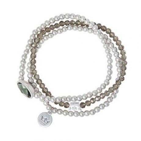 Sence Copenhagen Explorer Bracelet Grey Agate Worn Silver
