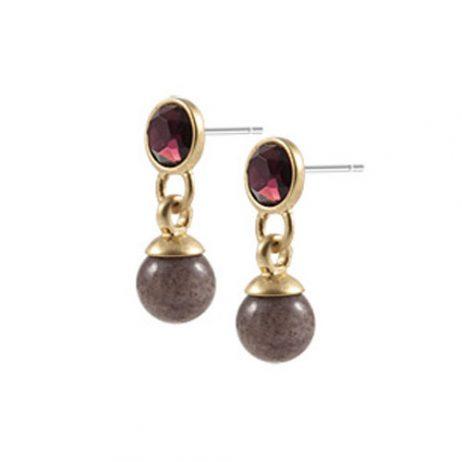 Sence Copenhagen Be Sparkling Earrings Purple Aventurine Worn Gold